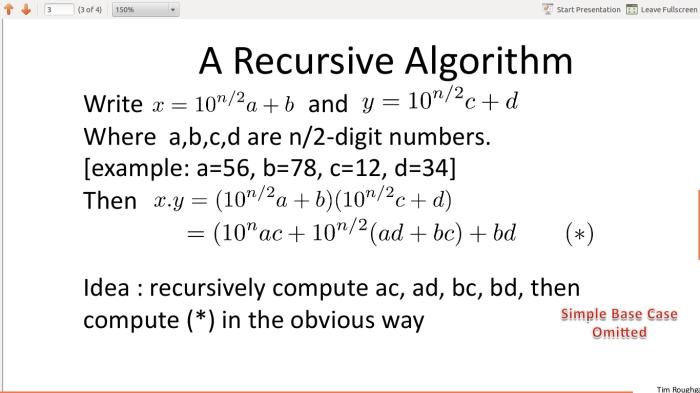 recursiveKaratsuba